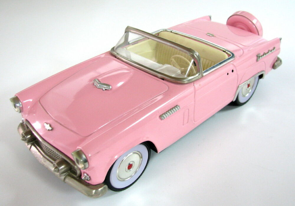 Vintage Japan Tin Toys : Vintage tin japan toy car thunderbird pink model s