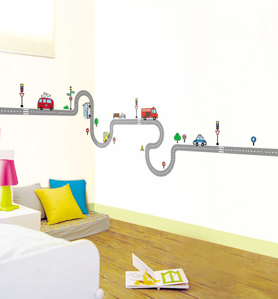 ss 41 road car mural decals decor vinyl removable home art wall sticker kids ebay. Black Bedroom Furniture Sets. Home Design Ideas