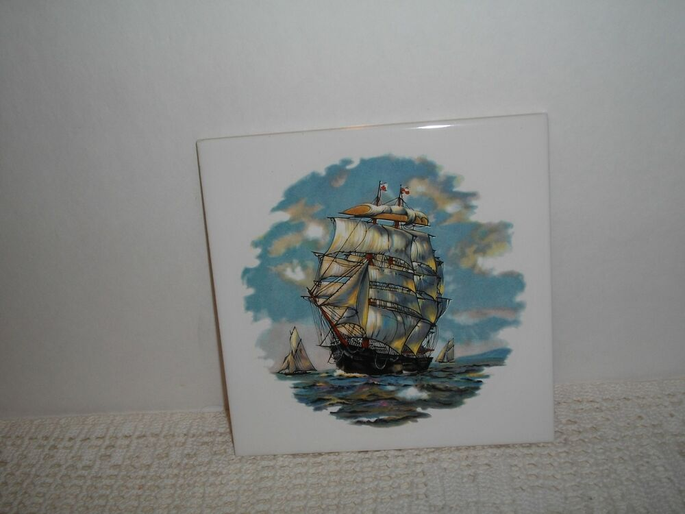 Vintage 3 masted schooner ocean sailing ship tile 6 x 6 for Vintage ocean decor
