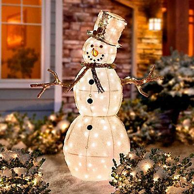 4 FOOT OUTDOOR LIGHTED CHRISTMAS SNOWMAN Holiday Yard Art ...