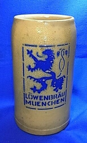 vintage german beer mug loewenbraeu munich lion brew xx. Black Bedroom Furniture Sets. Home Design Ideas