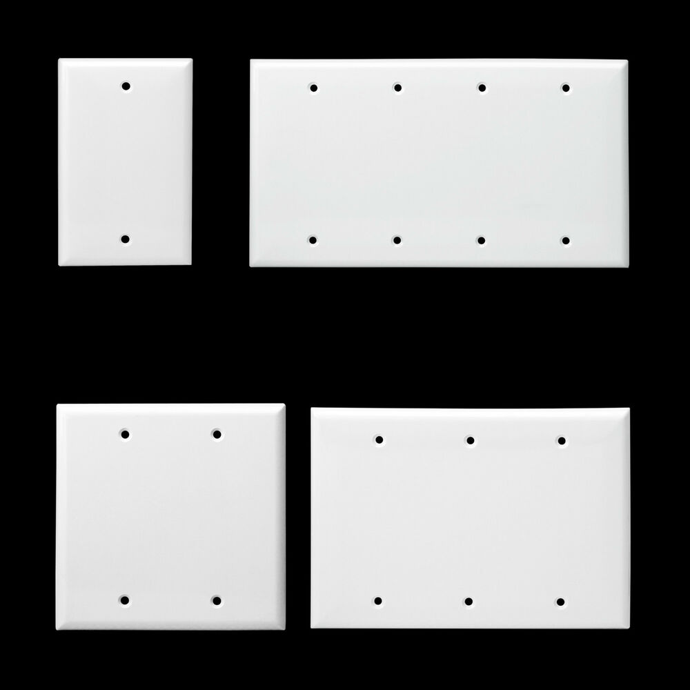 Blank wall switch plate unbreakable plastic 1 2 3 4 gang for Four blank walls