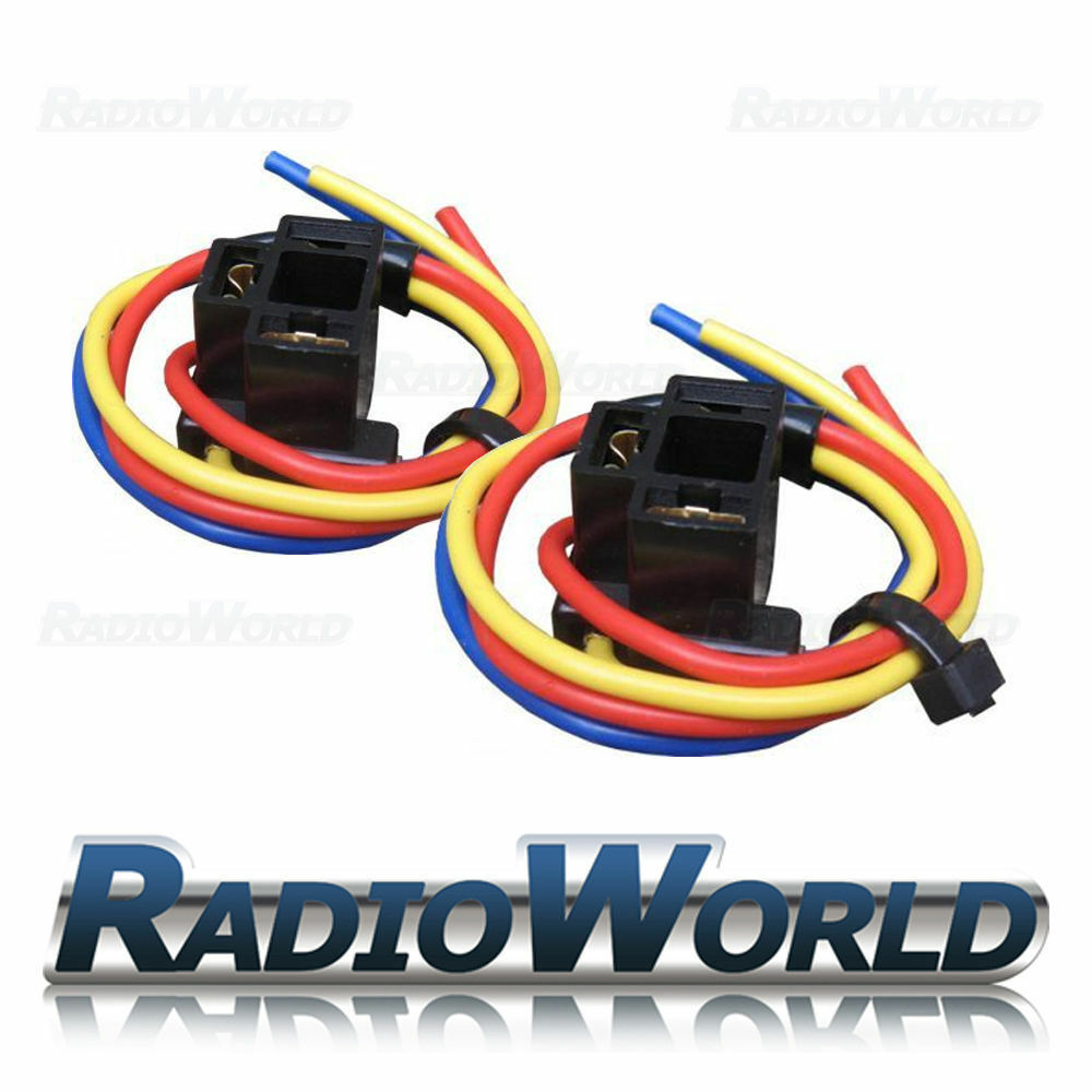 2x H4 3 Pin Bulb Holder Headlight Wire Wiring Replacement