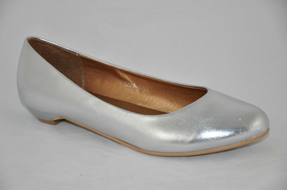 Silver Wedding Bridal Shoes Ballerina Low Heel Flat Pumps UK 3 4 5 6 7 75