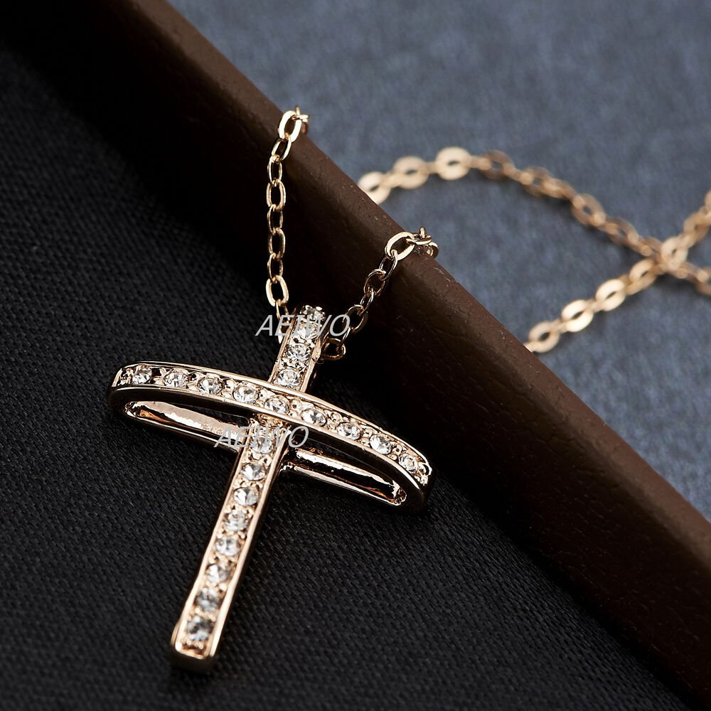 9k gf 9ct rose gold filled simulated diamond cross pendant. Black Bedroom Furniture Sets. Home Design Ideas