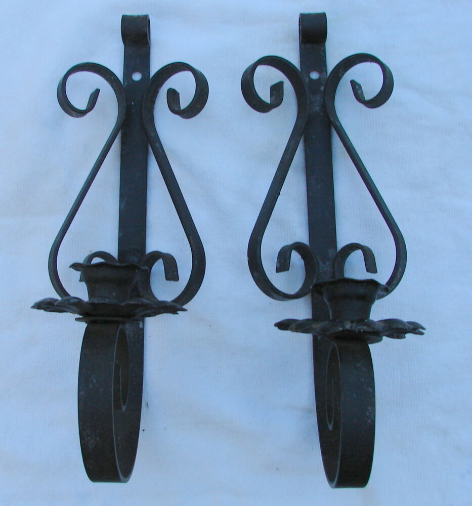 Wall Sconce Candle Holder In Metal : 2 WALL SCONCE METAL BLACK VINTAGE IRON CANDLE HOLDER 4 X 13 X 4 1/2