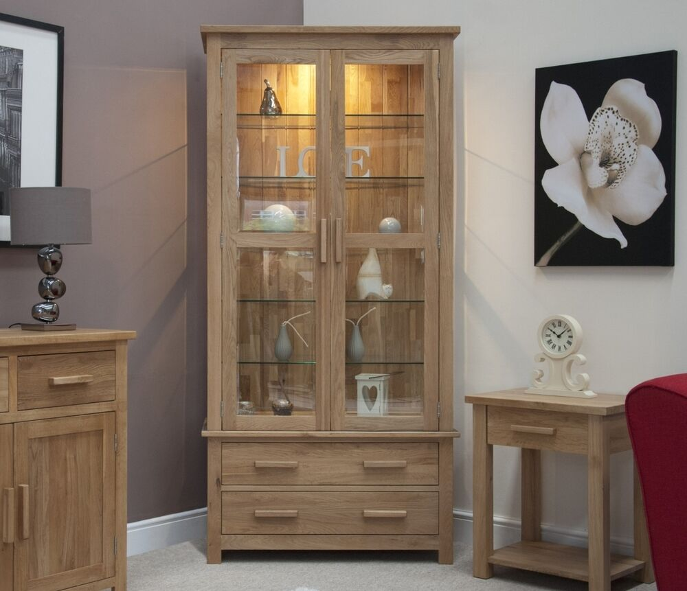 Oak Furniture Living Room Eton Solid Oak Living Room Furniture Glazed Display Cabinet