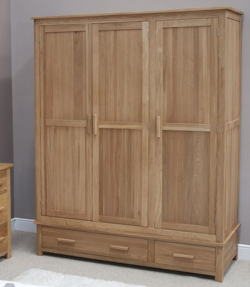 eton solid oak modern furniture large triple bedroom wardrobe ebay
