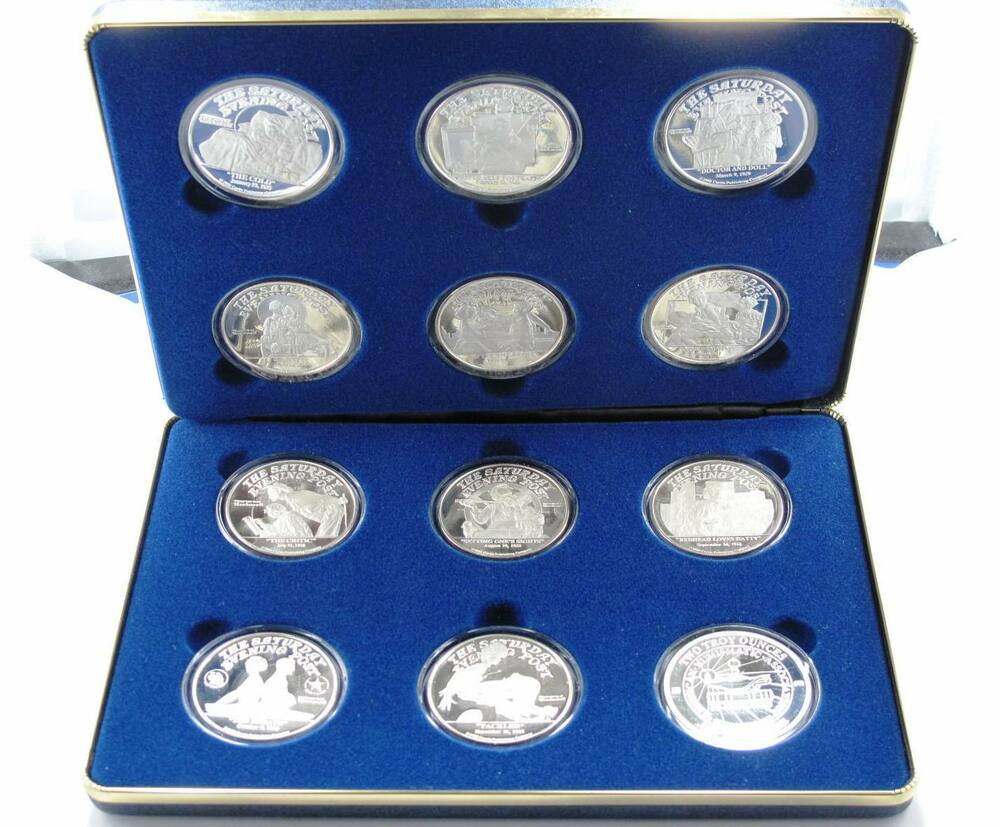 1988 Norman Rockwell Post Silver Medallions Proof Set 12