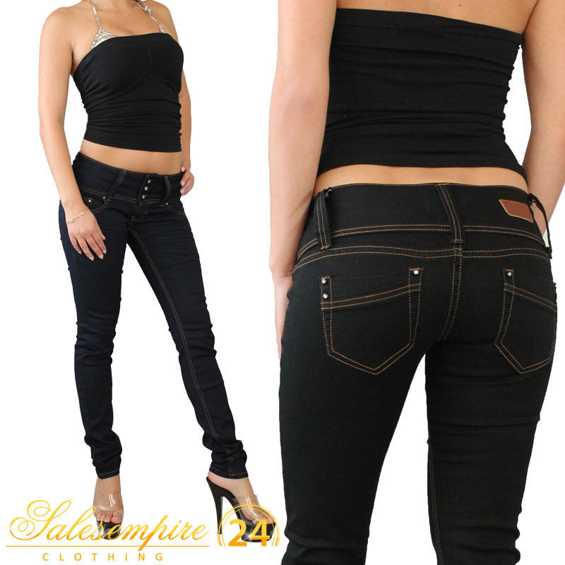 jeans damen r hrenjeans in 2 farben gr xxs xl hose r hre neu top ebay. Black Bedroom Furniture Sets. Home Design Ideas
