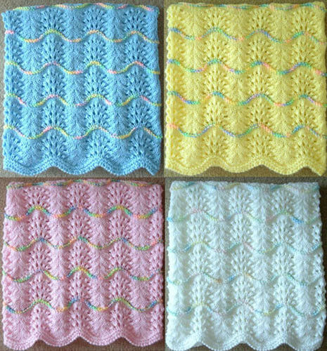Handmade Knitting Patterns : NEW Handmade Knit Crochet BABY Afghan Blanket Infant Throw Soft Wave Pattern ...