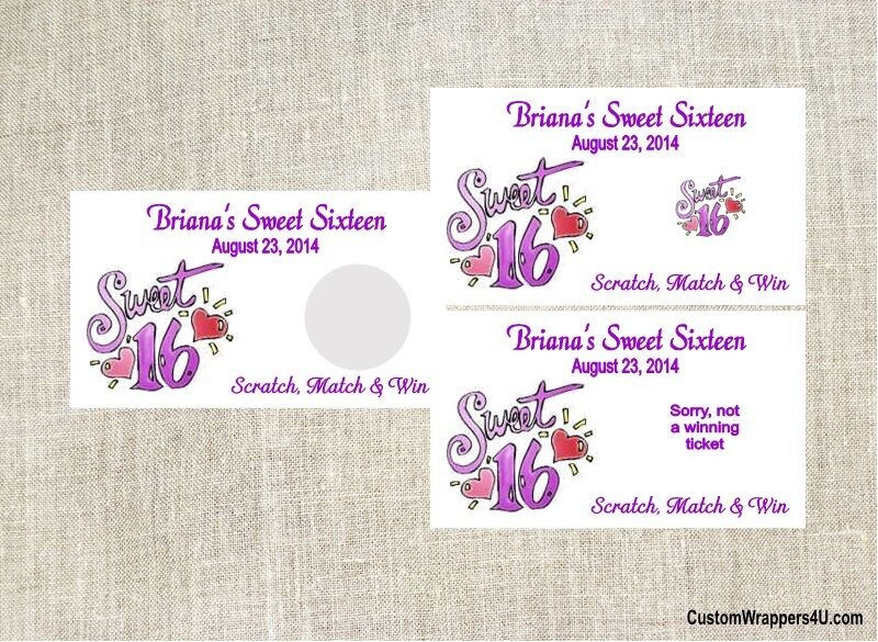 Free Scratch Cards >> Sweet Sixteen 16 Birthday Party Scratch Off Game Tickets Favors Custom | eBay