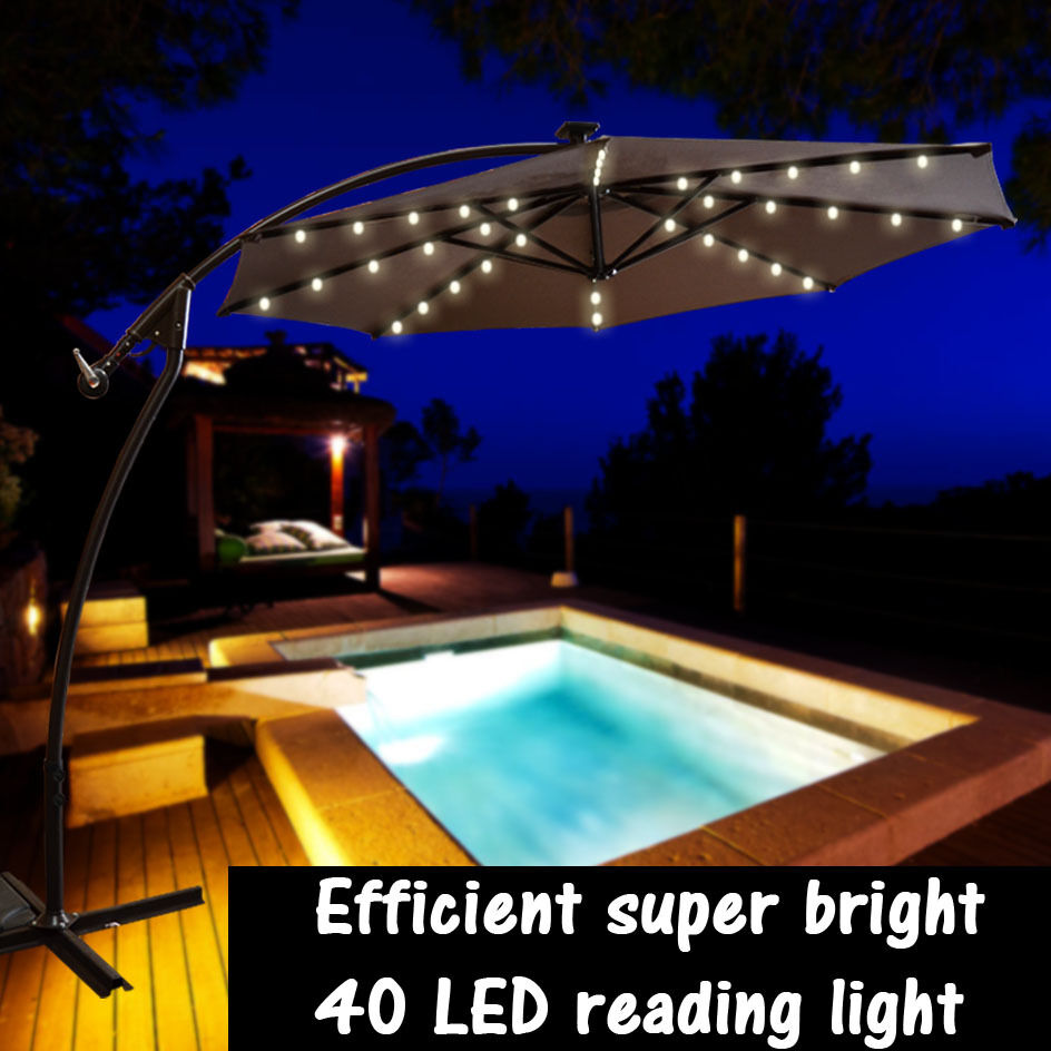 new 9ft cantilever solar powered led light patio umbrella. Black Bedroom Furniture Sets. Home Design Ideas