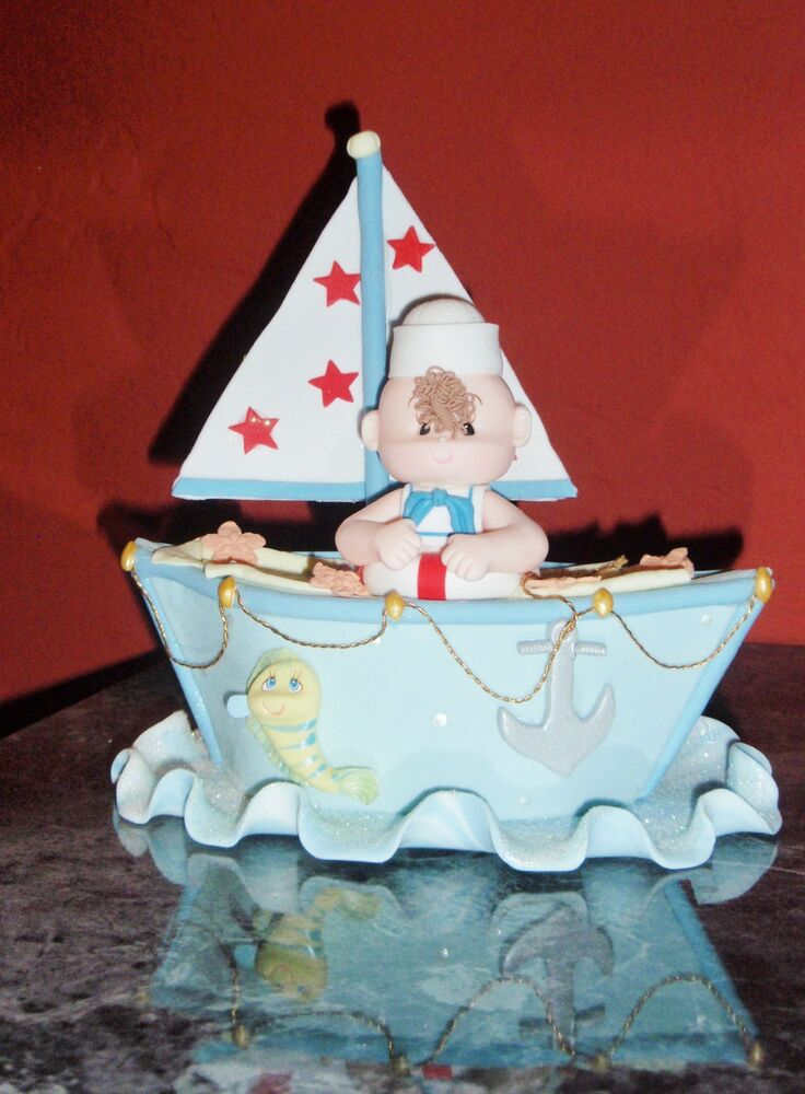 SAILBOAT TOPPER DIAPER CAKE BABY SHOWER BIRTHDAY NAUTICAL
