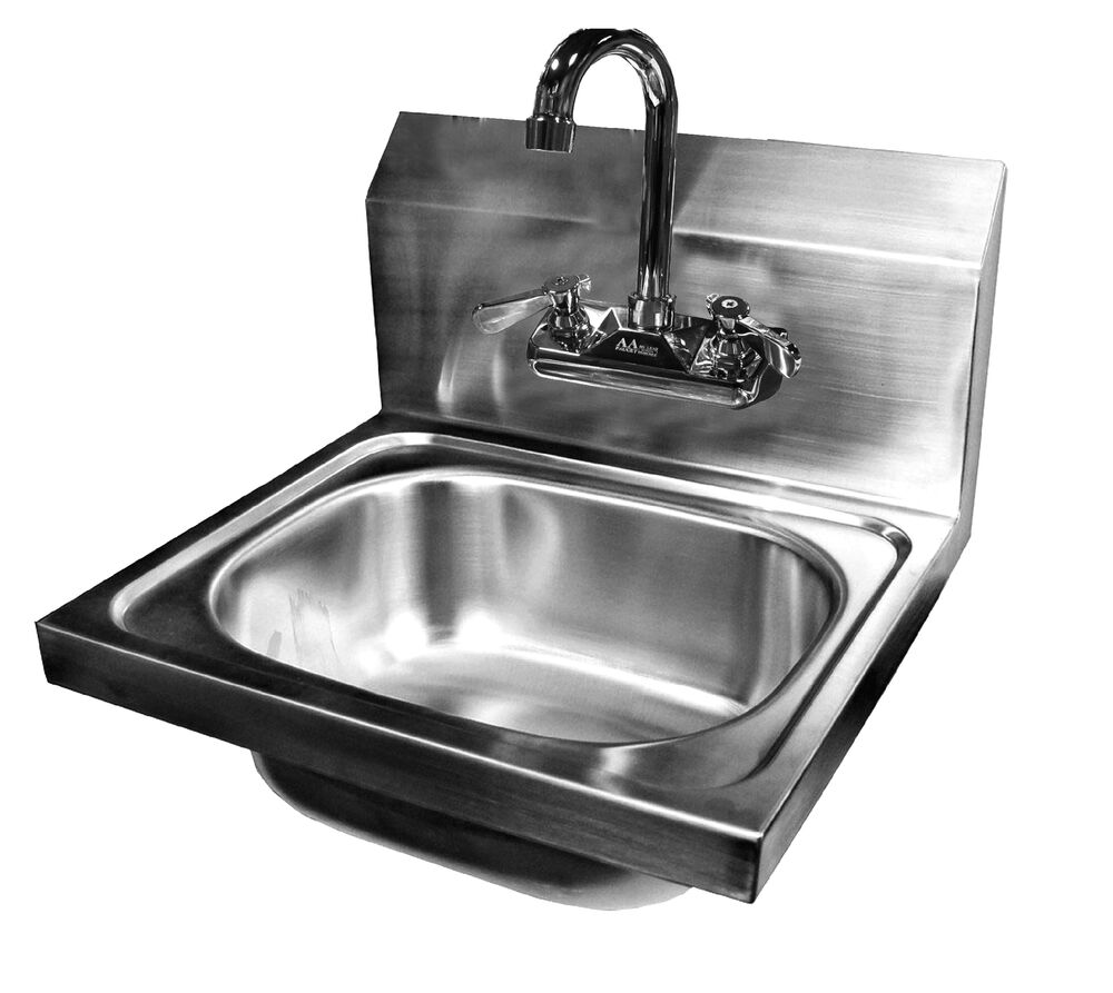 Wall Mount Hand Sink Stainless Steel 16 X15 W No Lead Faucet Ebay