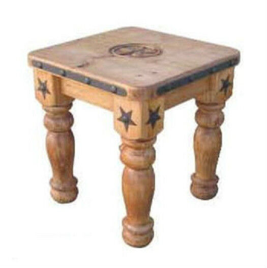 Heavy iron detail and wood end table with star solid wood for Table western