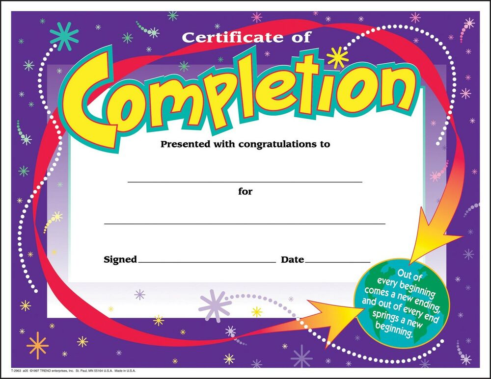 30 Certificates of Completion large certificate award pack by – Certificate Template for Kids