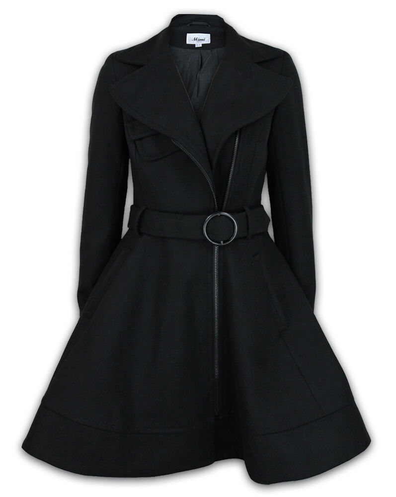 Womens Winter Fit And Flare Zip Belted Coat Ebay