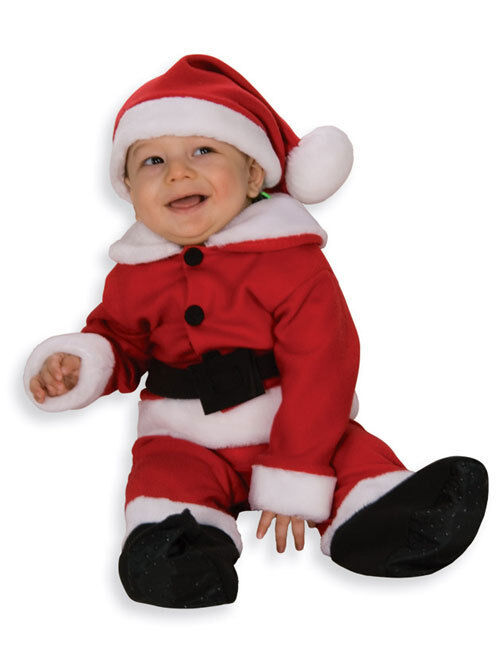 Fleece santa claus red dress up christmas baby infant