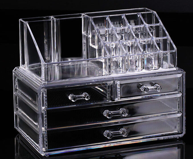 Cosmetic organizer makeup drawers Display Box Acrylic Clear Cabinet Case Set | eBay