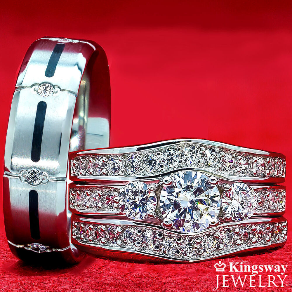 His Amp Hers 4 Pcs Womens STERLING SILVER Amp Mens TITANIUM Wedding Rings Set Bridal