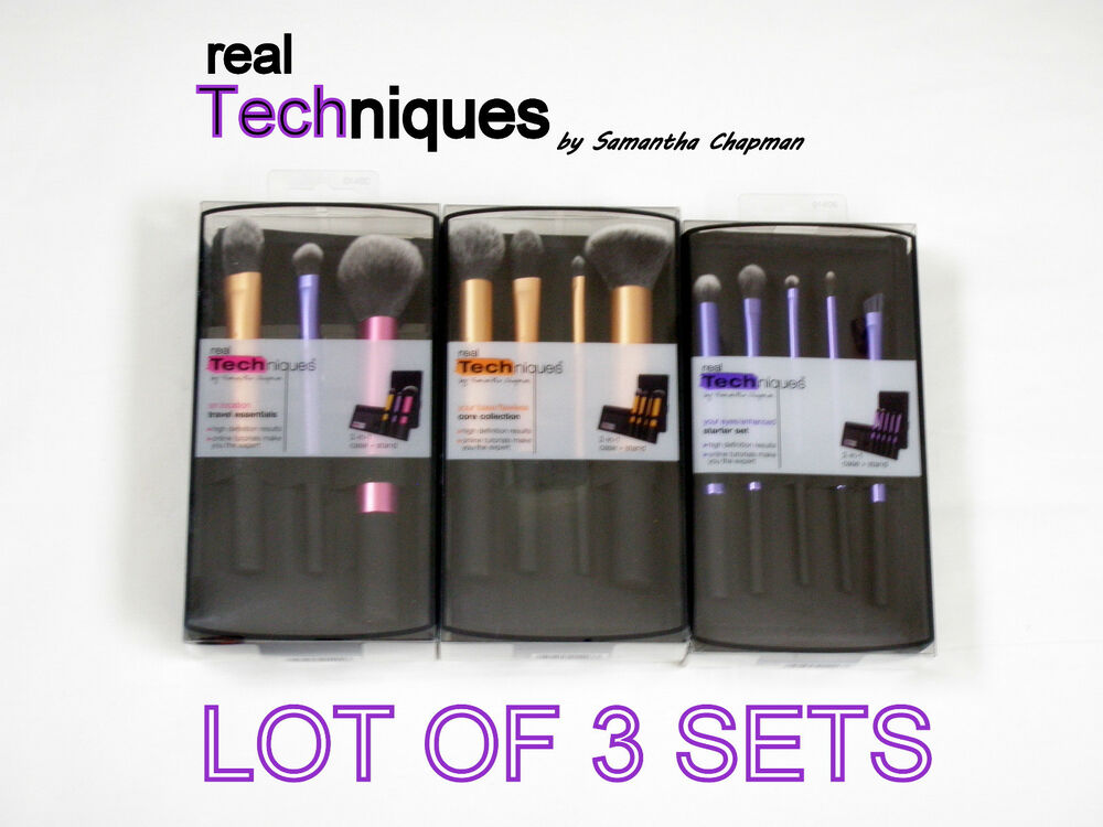 REAL TECHNIQUES BRUSH SET CORE COLLECTION, STARTER SET, TRAVEL ESSENTIALS LOT | eBay