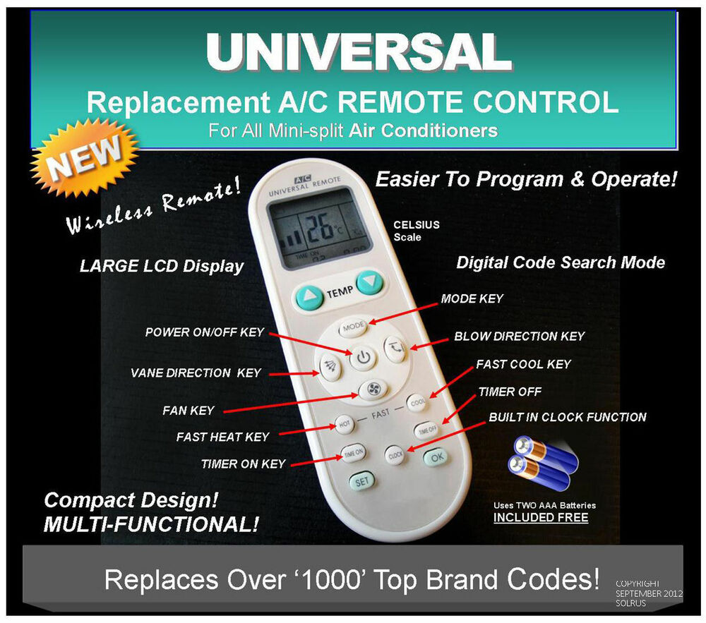 Universal A C Remote Replacement Haier Chigo York Lg