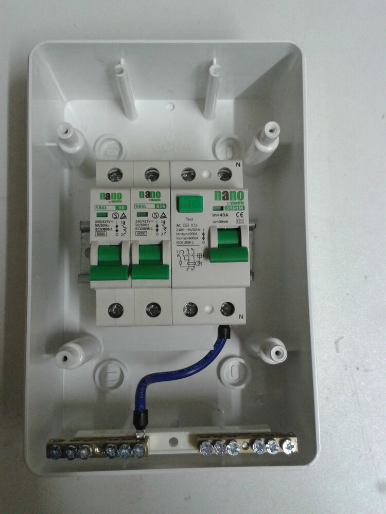 2 way garage home caravan consumer unit box 40a 30ma rcd