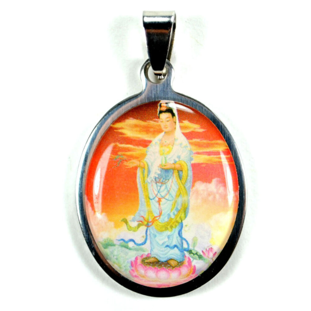 stainless steel kwan yin pendant buddhist color charm