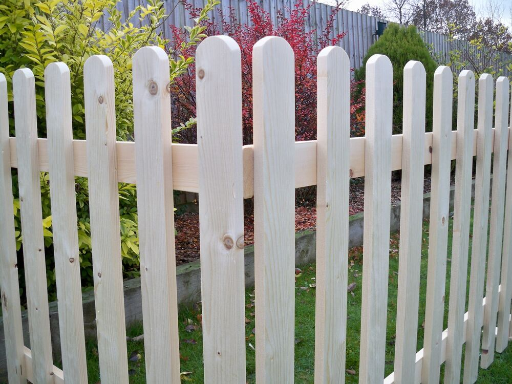 2ft High Free Standing Planed Smooth Wooden Picket Fence