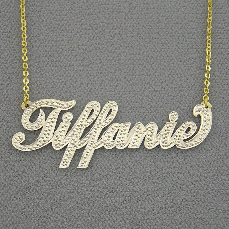 nt03 personalized 14k solid gold two tone name necklace. Black Bedroom Furniture Sets. Home Design Ideas