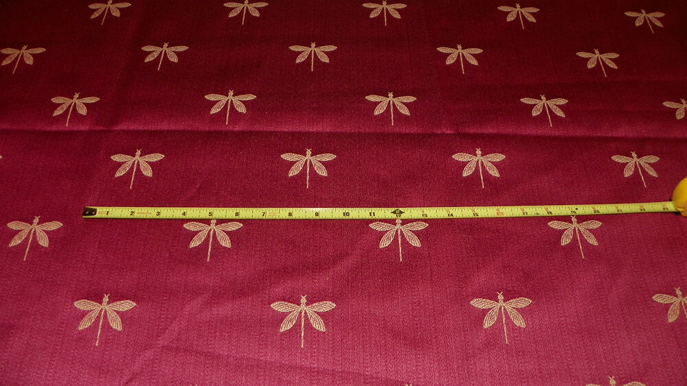 persimmon gold dragonfly print damask upholstery fabric