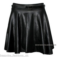New Womens Ladies Wet Look Pleated Flared Skater Skirt with Belt Size Size 8-14