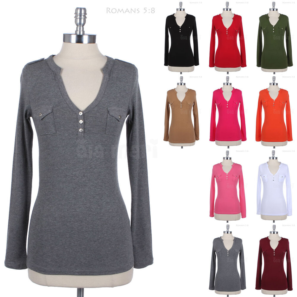 Long Sleeve Cotton V Neck Henley T Shirt Top With Two