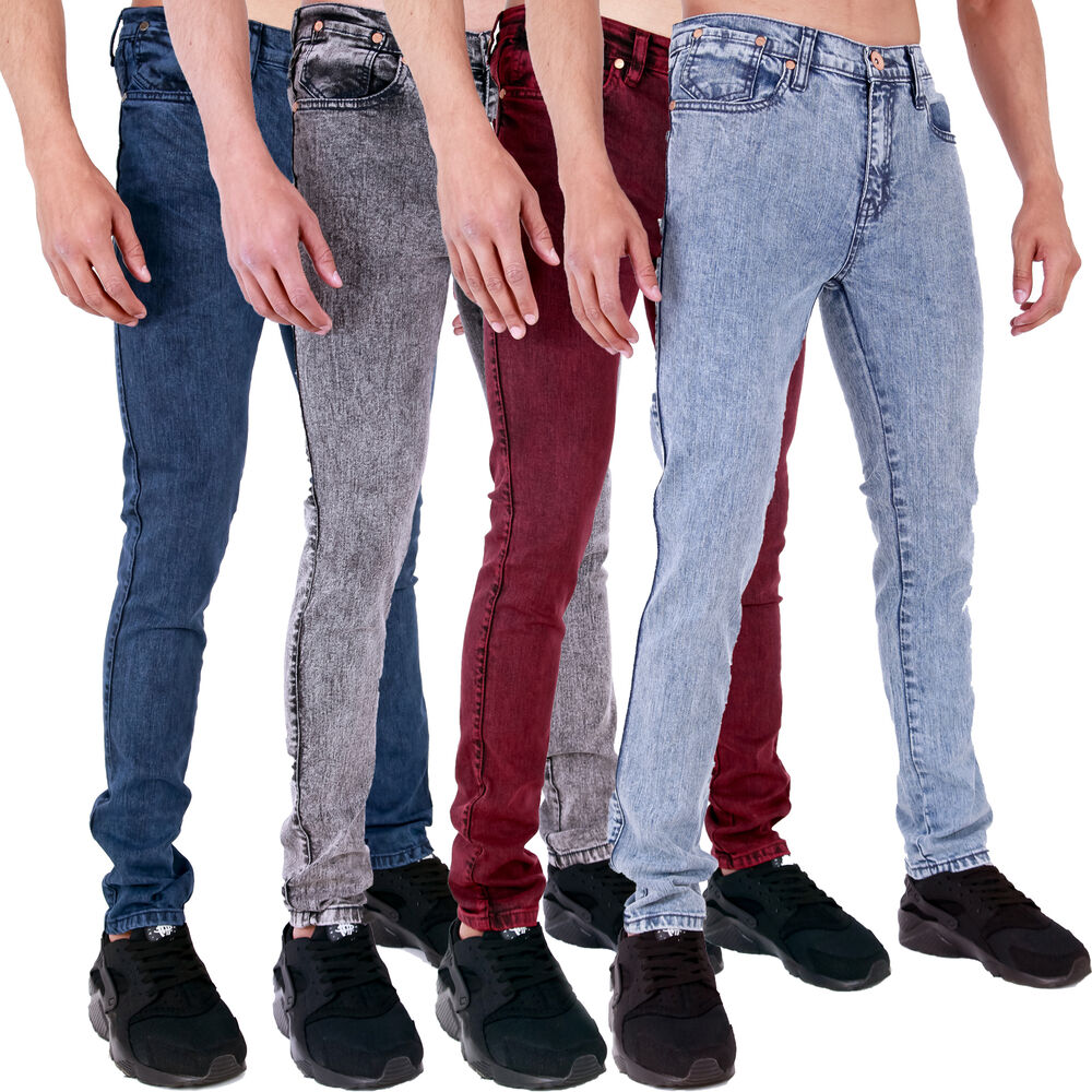 MENS SUPER SKINNY STRETCH PUNK RETRO ACID DENIM JEANS 28 30 32 34 ...