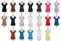 JUNIOR'S Basic Solid Plain Cotton Casual V Neck Short Sleeve Tee Shirt Top S M L