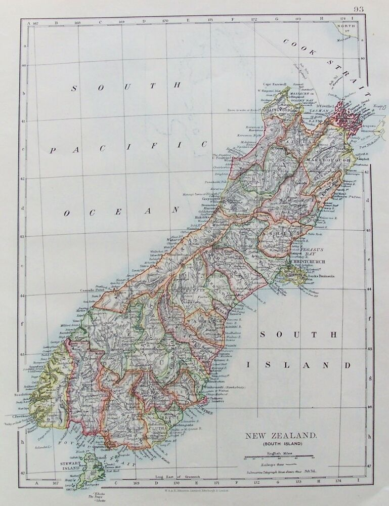 old antique map new zealand south island c1906 by johnston printed colour ebay. Black Bedroom Furniture Sets. Home Design Ideas