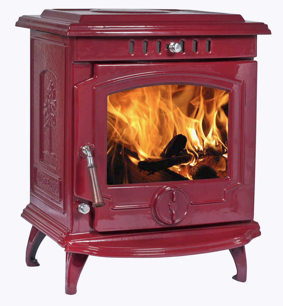 8kw Lilyking 659 Red Enamel Multi Fuel Stove Sale Ebay