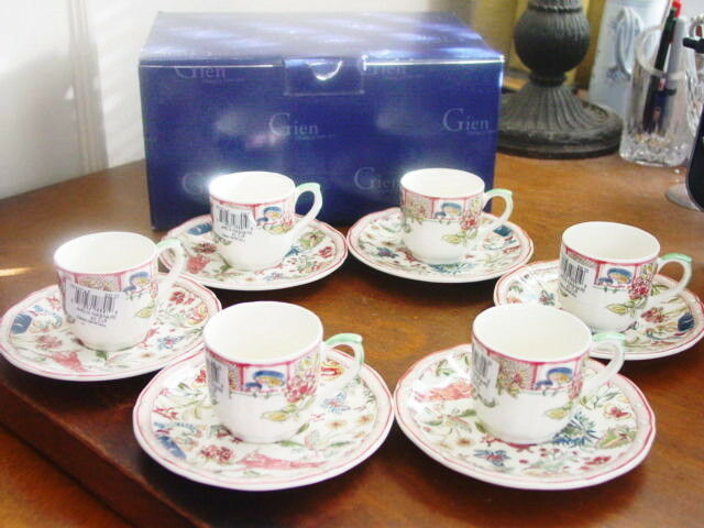 gien france faience jardin imaginaire demitasse set 6 cups. Black Bedroom Furniture Sets. Home Design Ideas