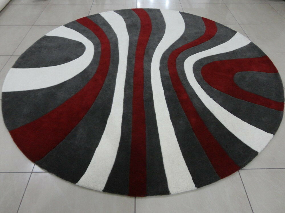 Indian Thick Hand Tufted Round Modern Designer Wool Carpet