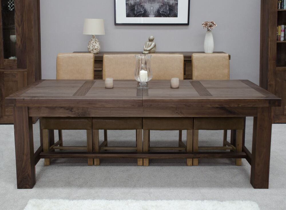 kendo solid walnut dining room furniture extra large extending dining table ebay. Black Bedroom Furniture Sets. Home Design Ideas