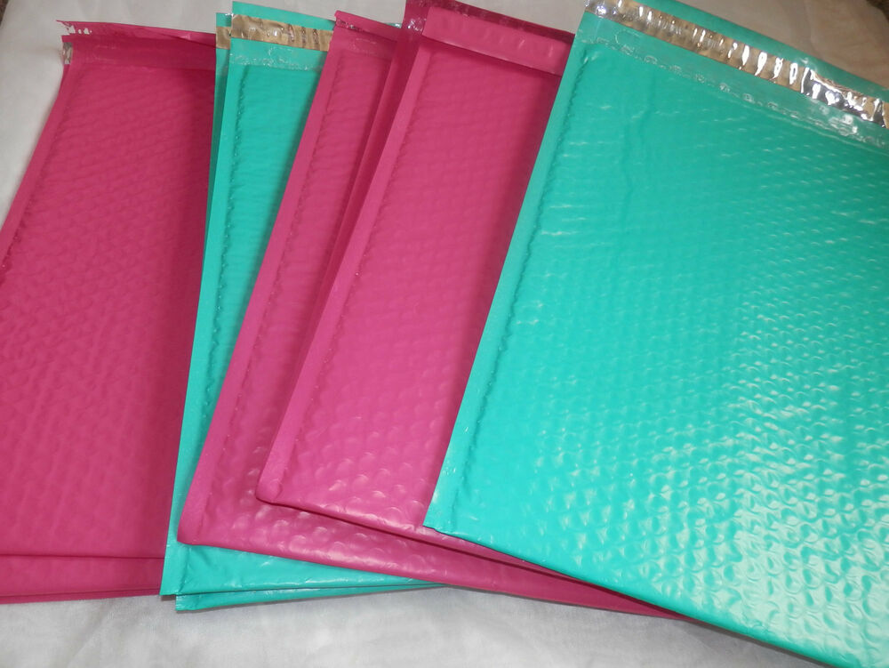10 Hot Pink And Teal 10 5 X 15 25 Poly Bubble Mailers