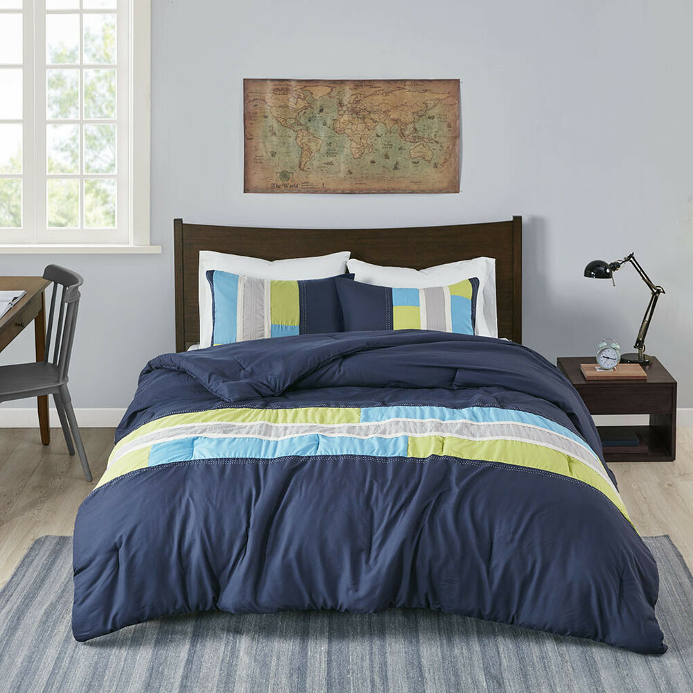 Bedding Decor: MODERN SOFT BLUE TEAL AQUA NAVY GREEN GREY STRIPE