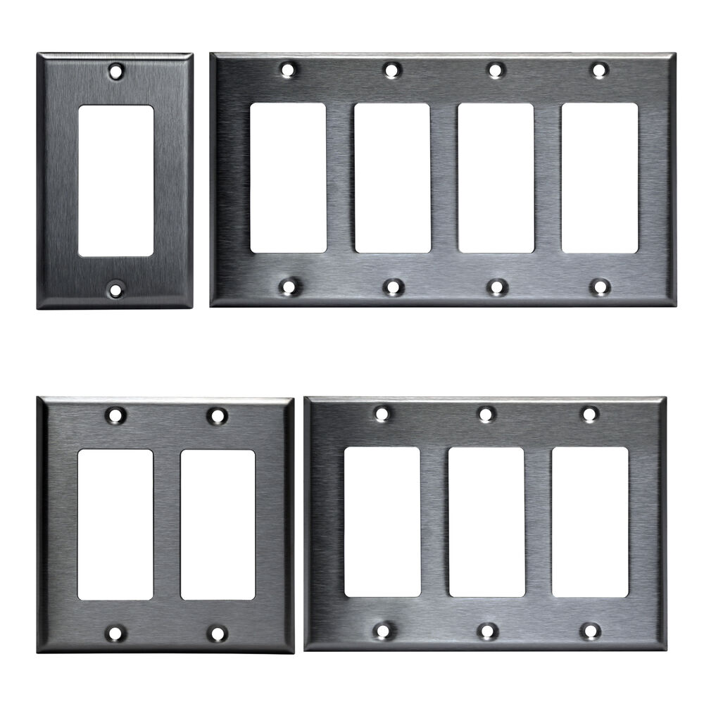 Decorator Brushed Stainless Rocker Wall Switch Plate