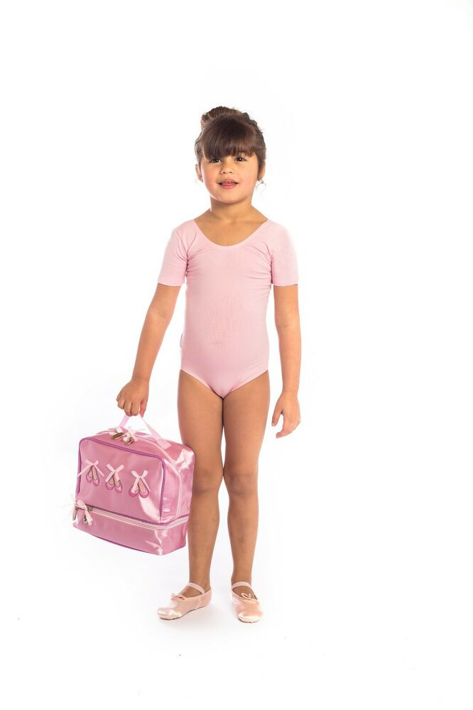 0ef8a78f3955 proVora Pink Short Sleeved Cotton Ballet Dance Leotard. Ages 2 3 4 5 ...