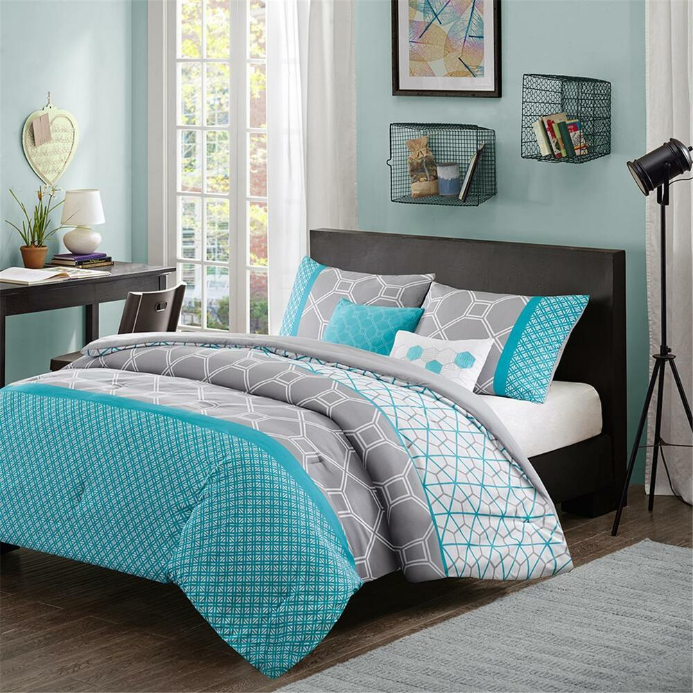 modern contemporary blue teal aqua grey chevron comforter set twin full queen ebay