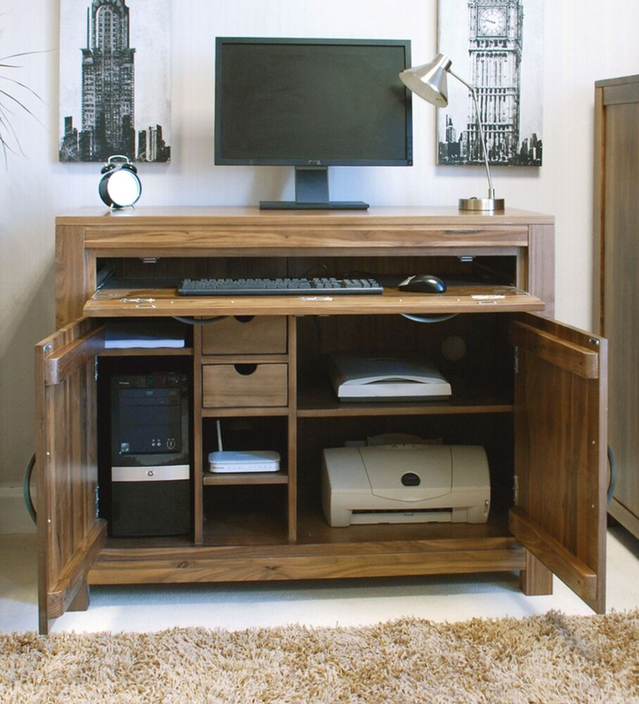 Linea solid walnut home furniture hideaway hidden home office PC ...