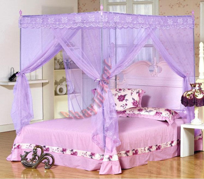 New Mosquito Net Bed Canopy Pink Ribbon Princess Bedding