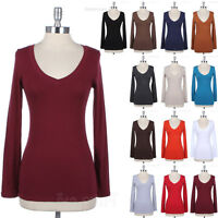 Women's Basic Cotton Casual Plain Long Sleeve V Neck Tee Shirt Top Solid S M L