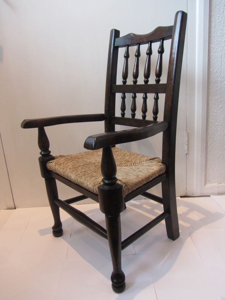 childs spindle back arm chair with rush seat free uk postage ebay. Black Bedroom Furniture Sets. Home Design Ideas
